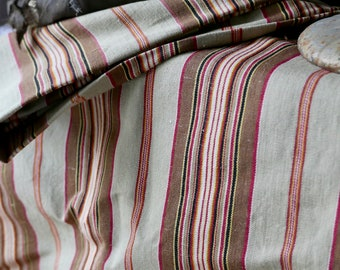 19C Antique French Fabric  French Cotton Ticking Vintage Mattress Cover Brown Khaki & Pink Fabric Herringbone Stripes / 2m French Home Decor