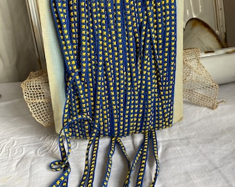 Vintage Blue Tape, Cotton Blue Tape & Yellow Crosses Cord. French Haberdashery Old New Stock, Millinery, Antique Sewing Supplies. 3m