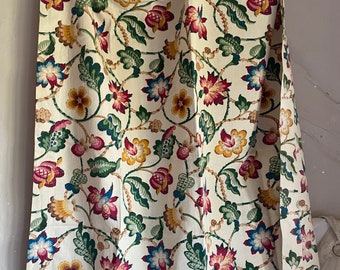 Antique Fabric, Vintage Floral Fabric, Curtain & Furnishings cotton Jacobean Style Hand Printed Panel/ Textiles Sewing Projects