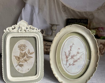 Vintage Style Photo Frame / Green Grey Home Decor, Oval or Rectangular. Shabby Chic / Decorative Gifts / Thanksgiving