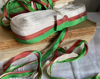 Vintage Tape Ribbon, Red & Green White Stripy Grosgrain Tape Irish or Italian Flag Trim/ Millinery, Circus and Period Costume 3m