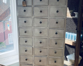 Antique Furniture, Vintage French Pigeon Hole, Multi 36 Drawer Cabinet. French Country Decor & Interiors. Home Storage Interiors OOAK, RARE!