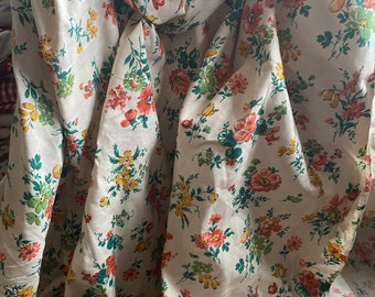 Vintage Fabric. Floral Cotton. Yellow Peach & Green Flowers, Sewing Furnishings Projects, sold by metre