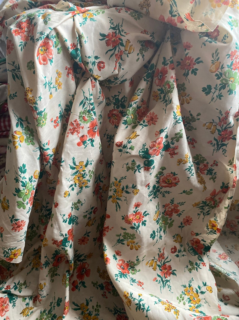 Vintage Fabric. Floral Cotton. Yellow Peach & Green Flowers image 0