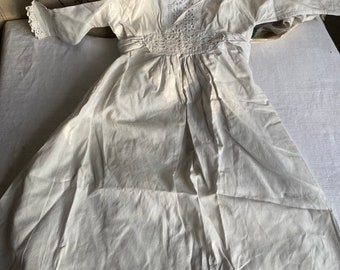 Antique Baby Christening Gowns White Edwardian Cotton Dresses, Vintage Wedding Period Costume Drama, Child Wardrobe 2pc