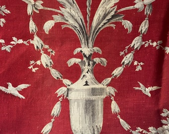 Antique French Fabric, Toile de Jouy Linen Panel Textile, Vintage Red & White Cherubs, Medallions, Urns Home Decor Furnishing Projects RARE
