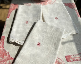 Antique Fabric Dishcloths. Vintage White Tea Towels. Cotton Damask Table Linen. French Monogram FS, Wedding Hostess Gift/ Vintage Decor 1pc
