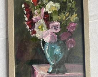 Vintage Oil Painting, Floral Still Life/ Pink Poppies Red Gladioli & White Peonies Flowers Bouquet in Vase, BrocanteArt- County Living Decor