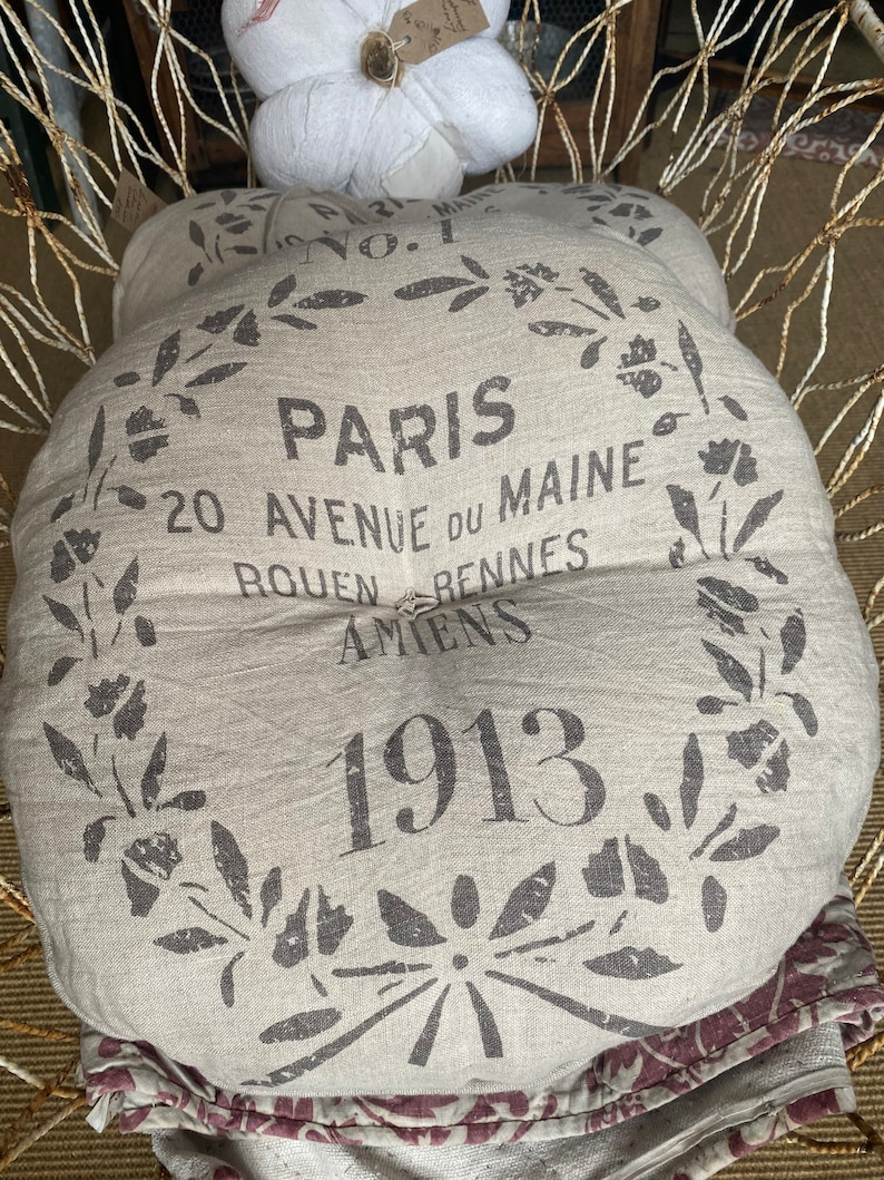 Vintage Style Round Cushion Linen Chair Pad / French Home image 0