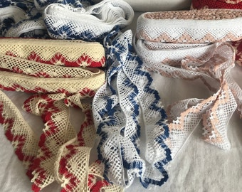 Vintage Lace, Lace Shelf Trim, Blue Peach or Red Cotton Tape /Home Decor / 2m Furnishings & Decor Romantic French Interiors