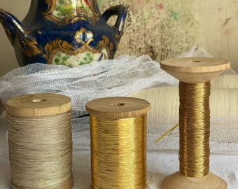 Antique Metallic Thread. French Silver or Golden Bobbin. Fine Embroidery Reel, Vintage Millinery. Luxurious Home Furnishings & Decor