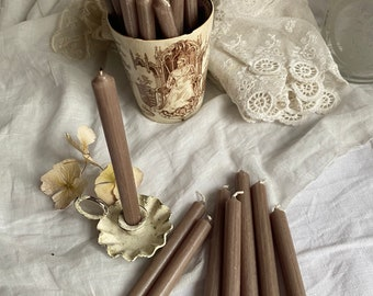 Taupe Candles Romantic Home Decor Slim MINI Taper Candles / Vintage Brocante Style, 13 x 1 cm Dinner Table Decoration / 10 pc