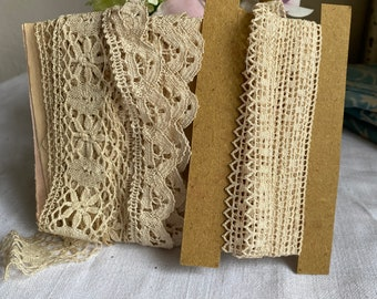 Antique Laces, Vintage Cotton, Cream & Ecru Bobbin Lace Remnants. Vintage Home and Wedding Period Costume/Sewing Projects 3pc