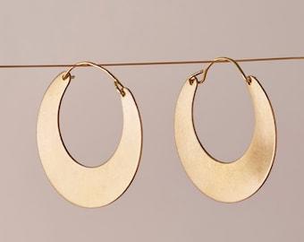 Gold Half Moon Tribal Hoop Earrings | Creole hoop earrings | Crescent moon hoop earrings | Brass Jewellery | Half hoop earring | Nickel free