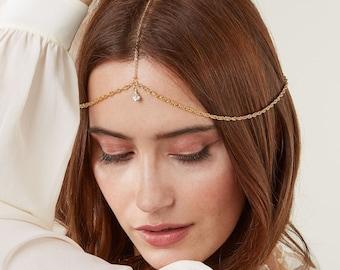 Behati Bridal Hair Chain Bohemian Bridal Headpiece Wedding Headpiece Bohemian Headpiece Bridal Head Chain Boho Hair Jewelry