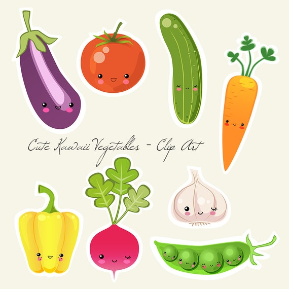 picture relating to Vegetable Printable called Lovable Kawaii Veggies - Electronic and Printable Clip Artwork