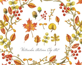 Autumn Leaves Watercolor Clip Art - Digital and Printable
