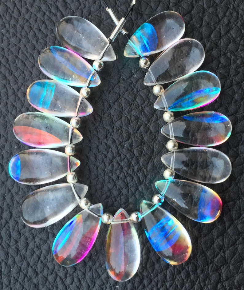 4 Matched Pairs 15x7mm Long aprx.,RAINBOW Quartz Smooth Pear Briolettes,Amazing Item at Low Price Brand New