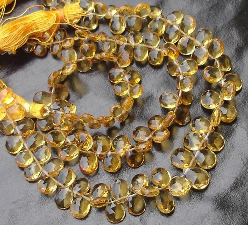 RARE Full 8 Inch Long Strand,Superb-Finest Quality Citrine Faceted Pear Shape Briolettes,8-9mm size aprx.Great VERY RARE