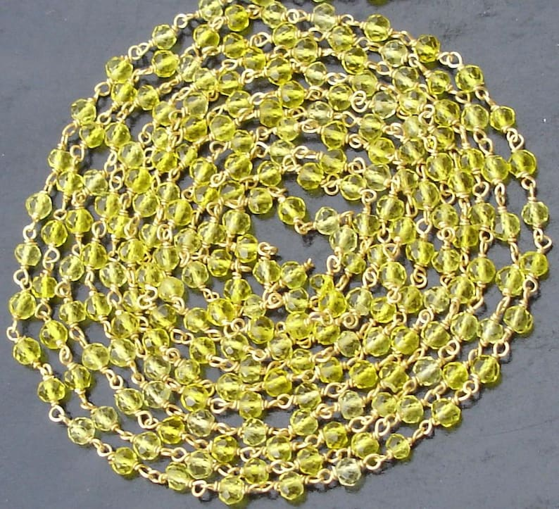 925 Sterling Silver 3.5mm YELLOW QUARTZ Rondells Chain 14 Inch Long Strand,Great Price