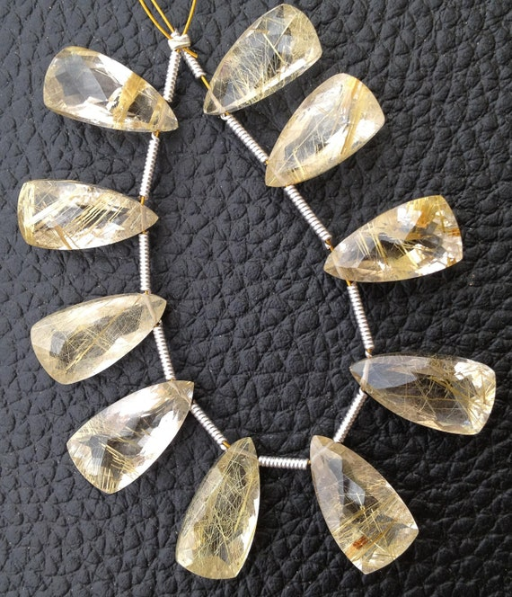 GREEN Rutilated Quartz Faceted Pyramid Shape Briolettes,15x8mm size.Superb Item at Low Price 4 Matched Pair