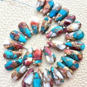 RED OYESTER COPPER Turquoise Smooth Drops Shape Briolettes 3 Matched Pair 12x8mm size.Superb Item at Low Price