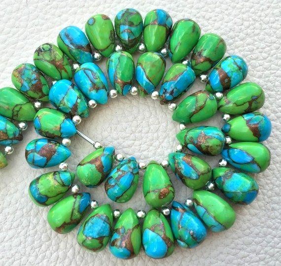 3 Matched Pair,Oyster Green Copper Turquoise Smooth Tear Drops Briolettes,Size 12x8 mm,Copper Green Turquoise Beads,Superb Item At Low Price