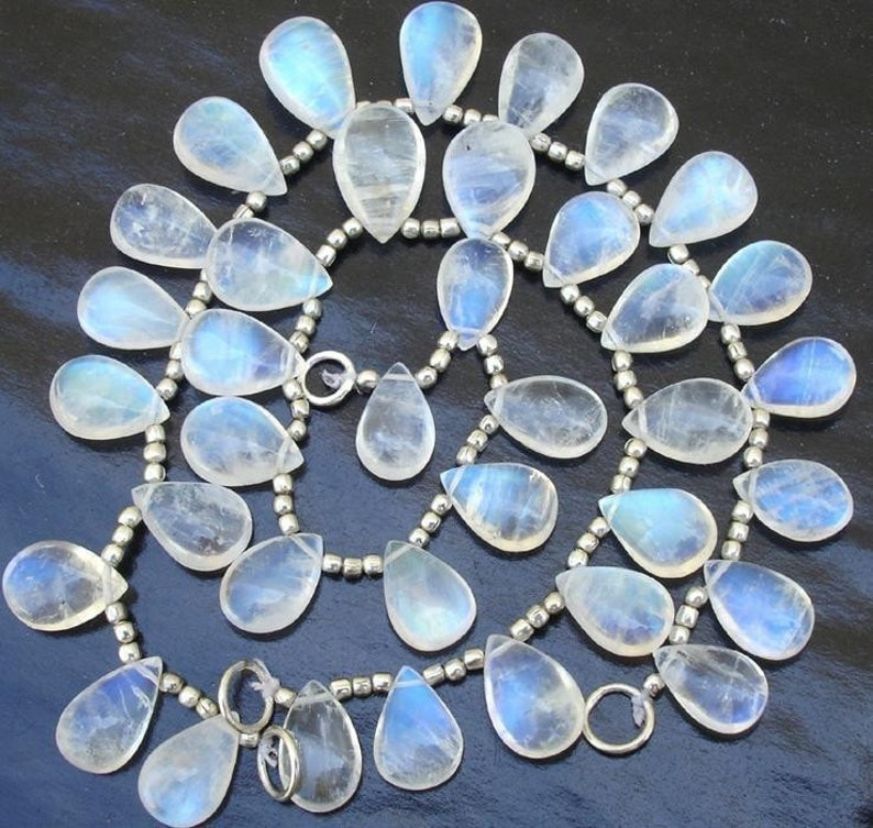 GIANT SIZE New Arrival Blue flashy Rainbow moonstone SMOOTH Pear shaped briolettes 14-16mm