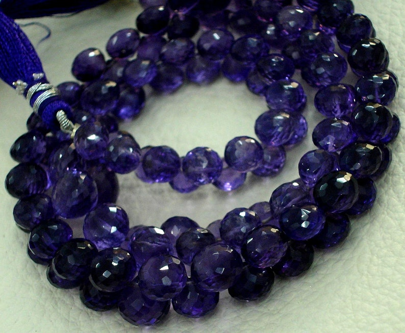 8 Inch strands,SUPER-FINEST-aaa Quality BRAZIL Amethyst Micro Faceted 6-7mm Onions Shape Briolettes,Super Fine Quality,Wholesale Price