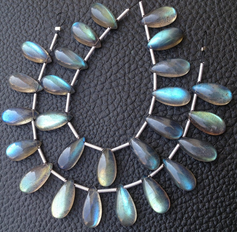 4 Matched Pairs,Blue Flashy LABRADORITE Smooth Pear Briolettes,15x7mm Long,Amazing Blue Flash