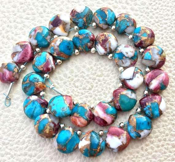 RED-SKY OYSTER Copper Turquoise Smooth Heart Shape Briolettes 10x10mm size.Superb Item at Low Price 4 Matched Pair
