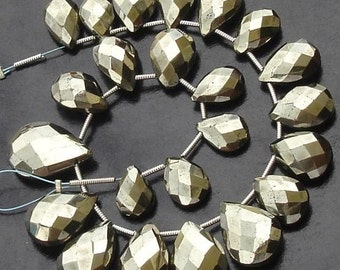 Wholesale Price Item,Pyrite Faceted Pear Shaped Briolettes,20 Pieces of 200 Cts weight,Fine Quality