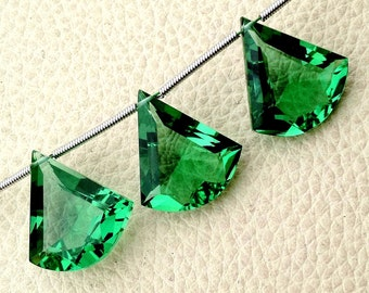 New Arrival 3 Pieces Set AAA NEW GREEN Quartz Faceted Fancy shaped Briolette,16-18mm Long, (Extremely Beautiful set