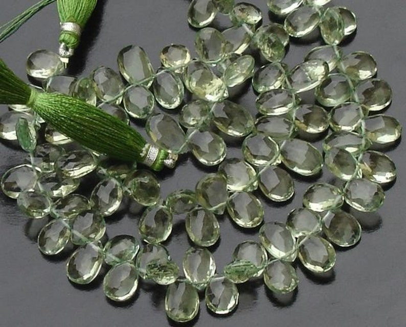 Gorgeous Quality GREEN AMETHYST Faceted Pear Shaped Briolettes Wholesale Price Offer,Full Strand 10-11mm Size