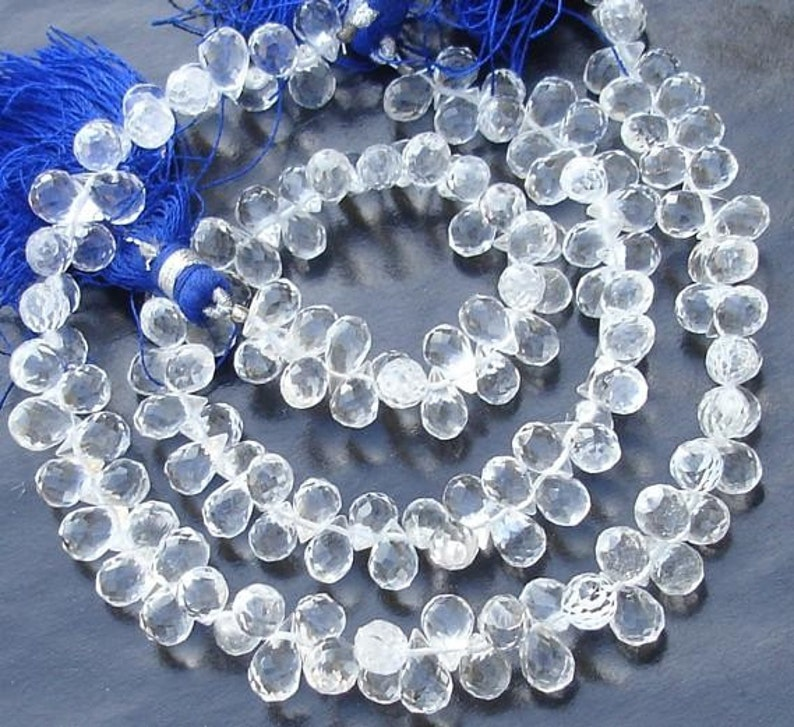 Rock Crystal Faceted Pear Shape Briolettes Loose Gemstone Jewelry Making