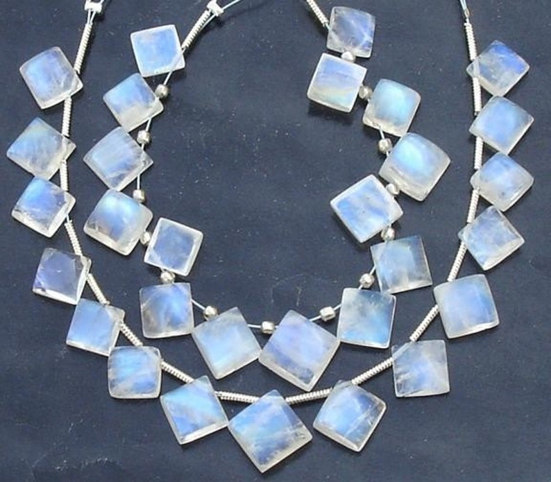 8 Inch,SUPER-FINEST-aaa Quality,Blue Flashy Rainbow Moonstone Smooth Cushion Shape Briolettes,9-12mm Size