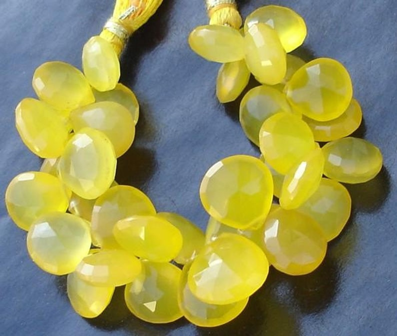 Mango Chalcedony Faceted Heart Briolettes,9-10mm Long size,GORGEOUS. 6 Inches Strand