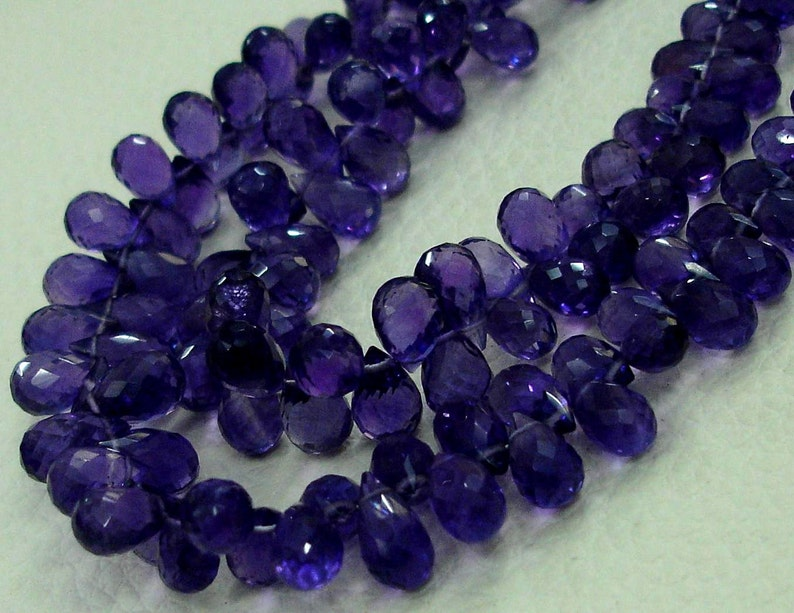 8 inch-VERY-VERY-FINEST Purple Amethyst Faceted Drops Shape Shape Briolettes,6-10mm Size,.Great Price Item