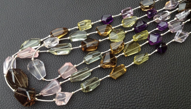 Super Shiny Golden MULTI STONE Faceted Nuggets 8 Inch Long Strand 12-16mm Long size,Manufacturers Price AAA Quality