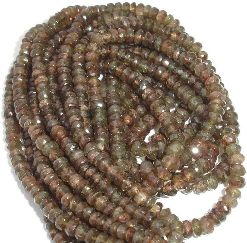 AAA Quality,Superb-Finest ANDULASITE,4.5-5mm 8 Inch Long Strand Micro Faceted Rondells,Great Price rare Item