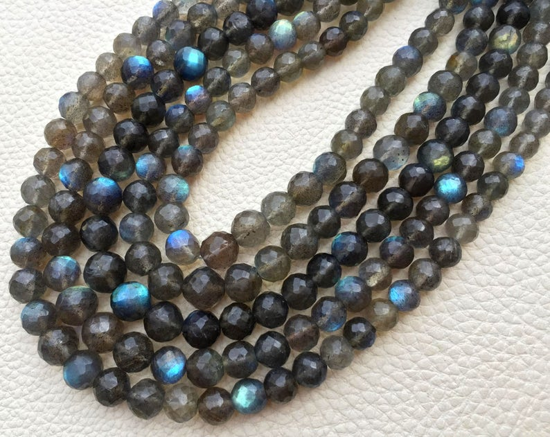 9-8mm size Full 8 Inch Strand OF Rare Blue Flashy Labradorite Faceted Round BALLS  Beads.