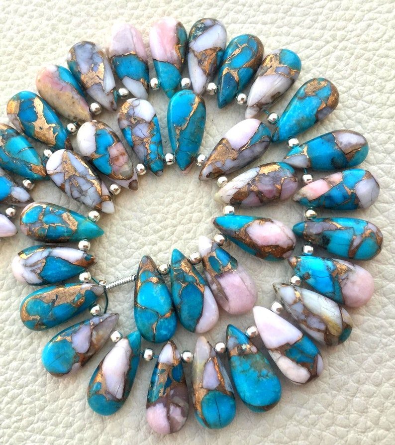 Awesome 20 piece OYSTER COPPER Turquoise Smooth PEAR Shape Briolettes 7x16 mm approx Superb Item at Low Price Best quality turquoise rare