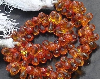 30 Pcs of Extremely Beautiful Padparadscha QUARTZ,  7-8mm Long, Amazing Rare Color,Finest Quality
