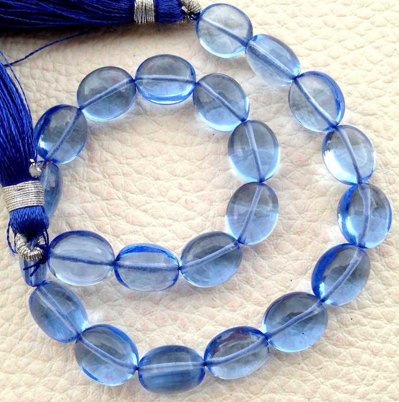 Full 8 Inch Long Strand Matched Pieces,Amazing Item TANZANITE Blue Quartz Smooth Ovals Beads,8x10mm