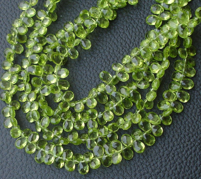 8 Inch 7-7.5mm size, SUPERB-- PERIDOT Faceted Pear Shape Briolettes Super Finest Quality