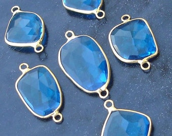 925 Sterling Silver, Swiss Blue Quartz, 24K Gold Plated Connector,ONE Piece of 15-20mm
