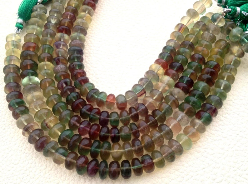 New Arrival Full 8 Inch Strand,NATURAL MULTI FLUORITE Smooth Rondelles,8mm Size,Rare Item at Low Price.