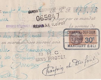 Old French Hand FRENCH Mandate dating to January 1928 with stamps and lovely old writing from a Hat and Shoe Supplier