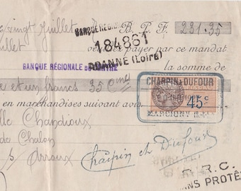 Old French Hand FRENCH Mandate dating to July 1927 with stamps and lovely old writing from a Hat and Shoe Supplier