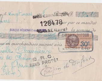 Old French Hand FRENCH Mandate dating to March 1928 with stamps and lovely old writing from a Hat and Shoe Supplier